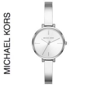 NWT authentic MK silver tone slim watch